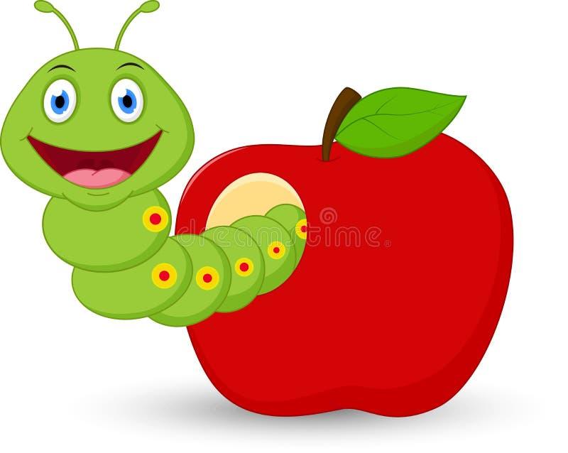 在苹果的逗人喜爱的蠕虫动画片 皇族释放例证