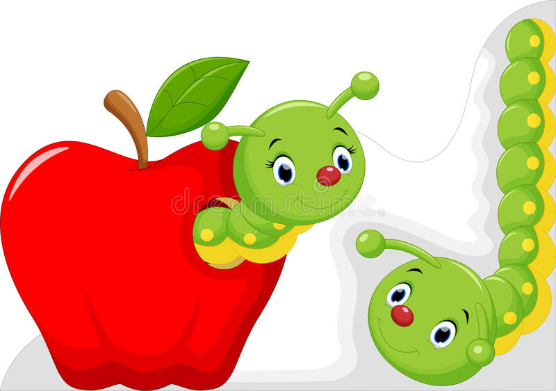 在苹果的滑稽的动画片蠕虫 库存例证