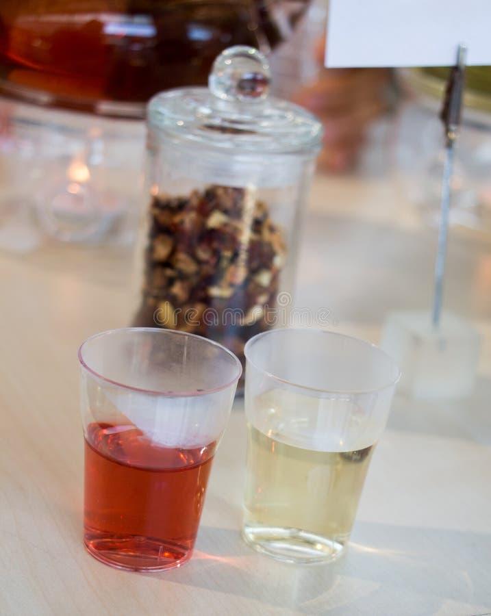 在茶壶的清凉茶和玻璃的茶厂 免版税库存照片