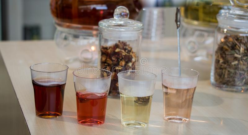 在茶壶的清凉茶和玻璃的茶厂 库存图片