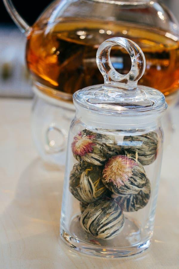 在茶壶的清凉茶和瓶的茶厂 免版税图库摄影