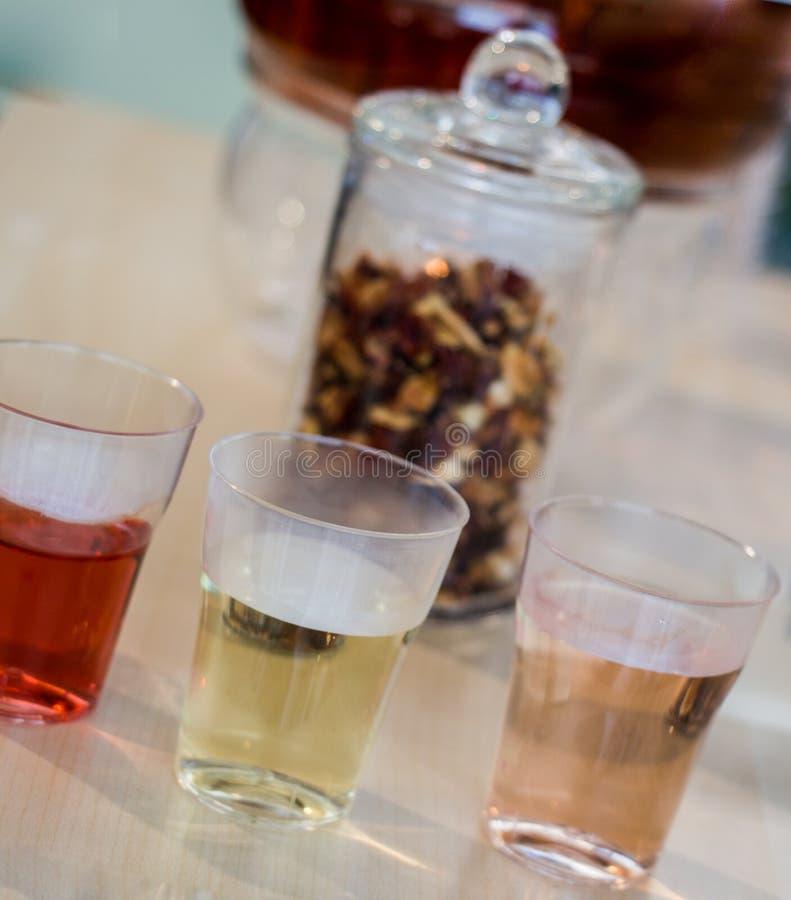 在茶壶的清凉茶和玻璃的茶厂 图库摄影