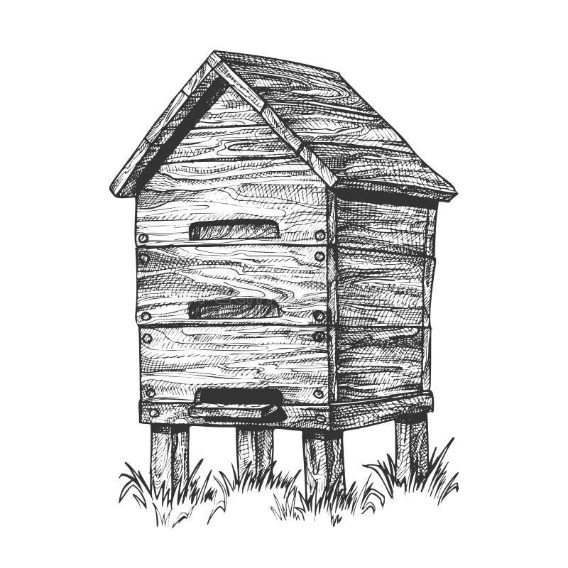 在草养蜂传染媒介的木蜂箱蜂房 库存例证