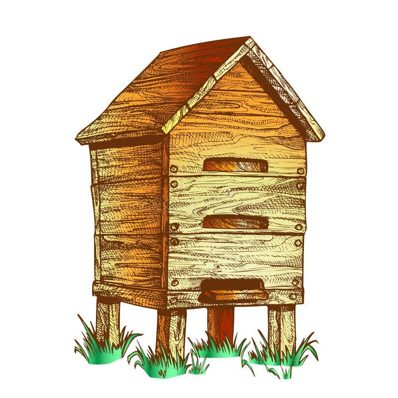 在草养蜂传染媒介的颜色木蜂箱蜂房 库存例证