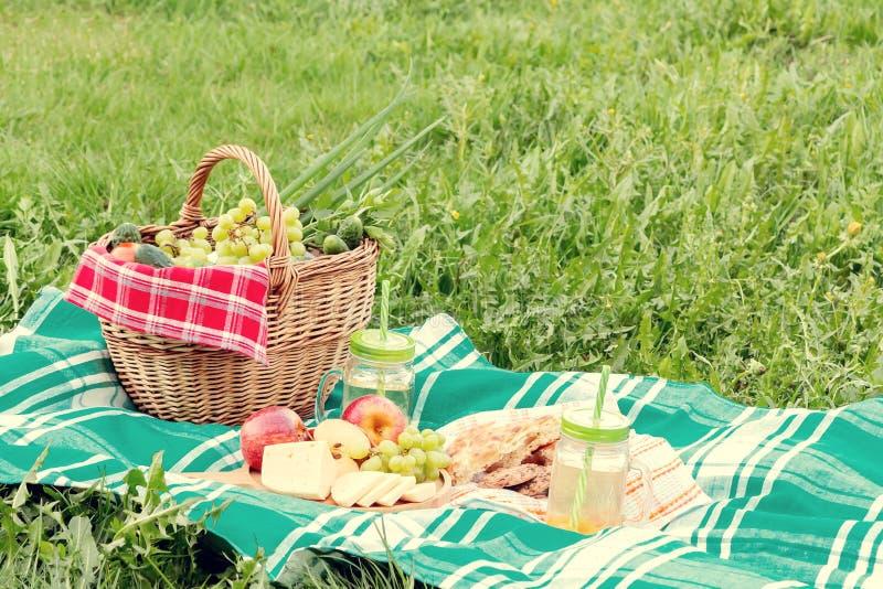 在草在一个夏日-篮子,葡萄,乳酪,面包,苹果的野餐-夏天室外休闲的概念 免版税库存照片