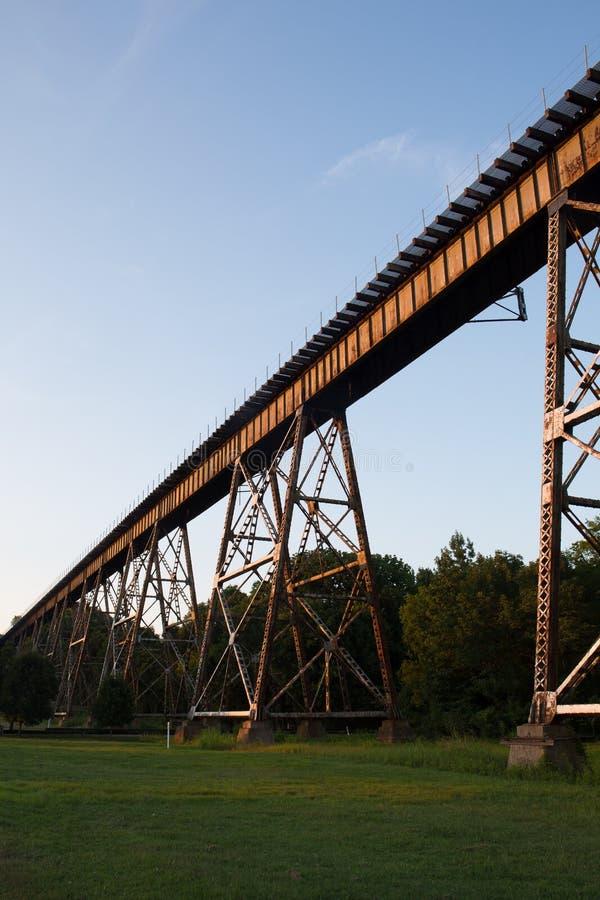 在草地的铁路桥梁 库存照片