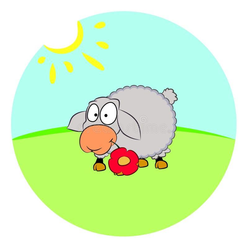 在草坪的绵羊  向量例证