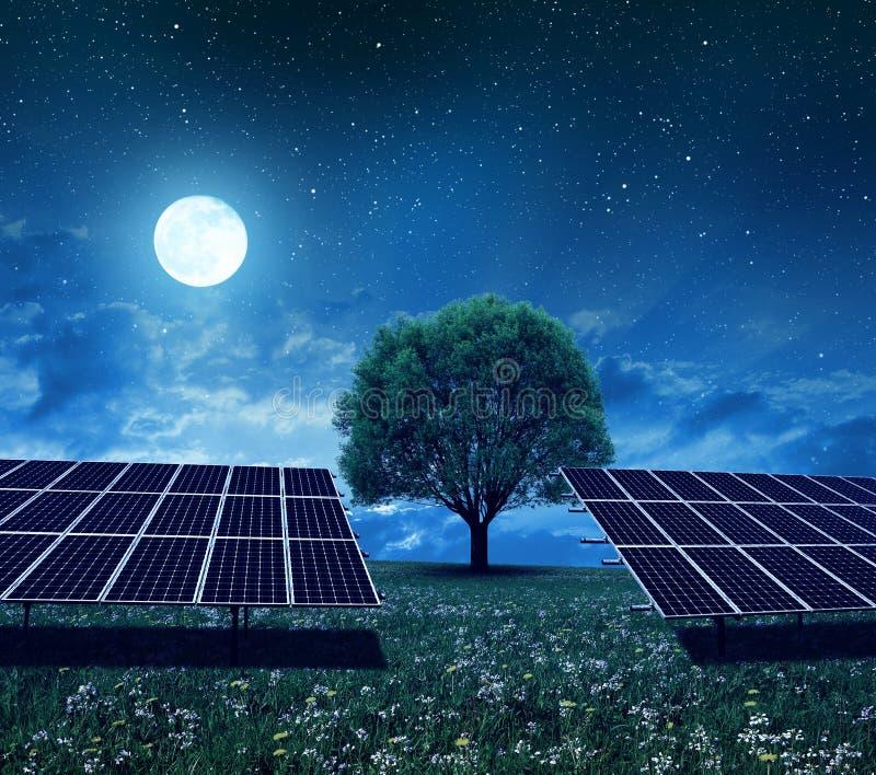 在草甸的太阳能驻地在夜 免版税图库摄影