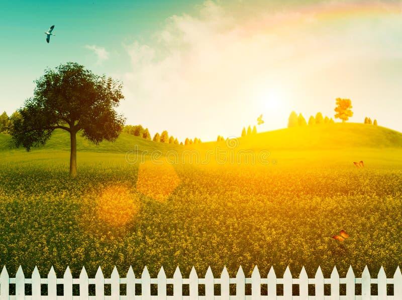 在草甸的白色篱芭。 免版税图库摄影