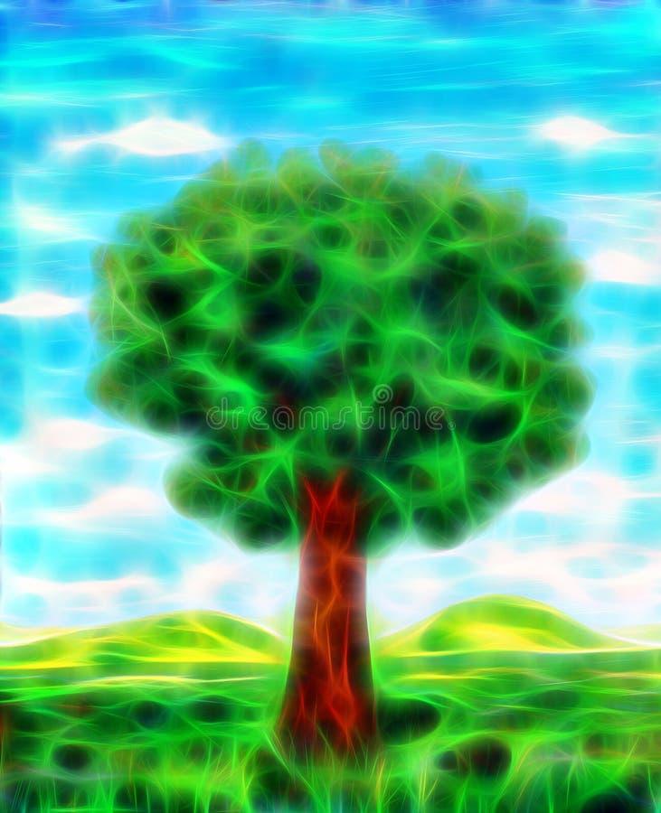 在草甸的美丽的绿色树 分数维作用 皇族释放例证