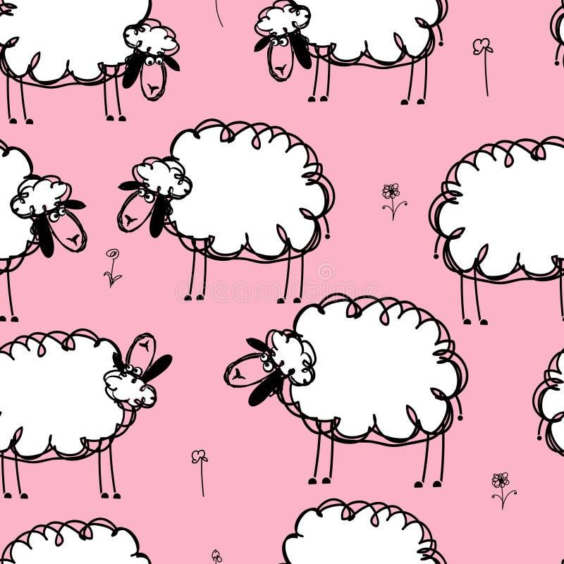 在草甸,您的无缝的样式的滑稽的绵羊 皇族释放例证