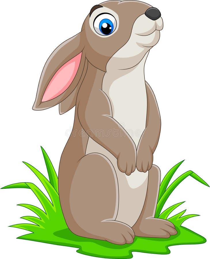 在草的动画片滑稽的兔子 向量例证