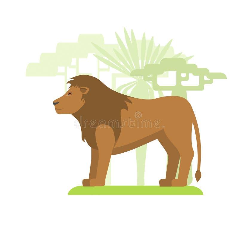 在草的动画片狮子 皇族释放例证