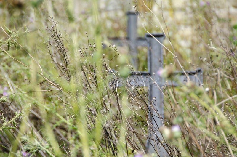 在草的十字架 图库摄影
