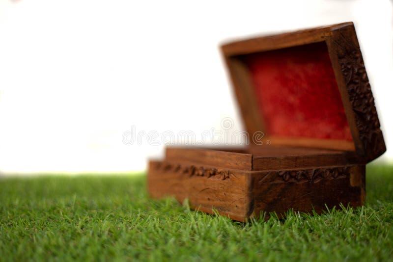 在草的古色古香的木胸口 库存照片