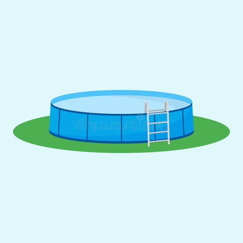 在草的地面水池上选拔 也corel凹道例证向量 库存例证