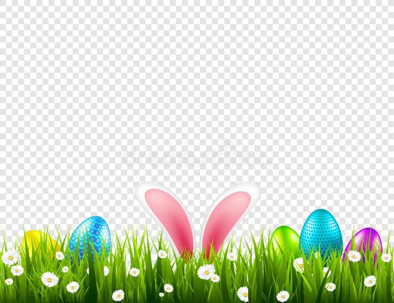 在草的复活节彩蛋与兔宝宝兔子耳朵被设置 春天假日在4月 与蛋狩猎的星期天季节性庆祝 库存照片
