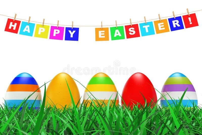 在草的复活节彩蛋在复活节快乐下签署垂悬在绳索 3d 向量例证