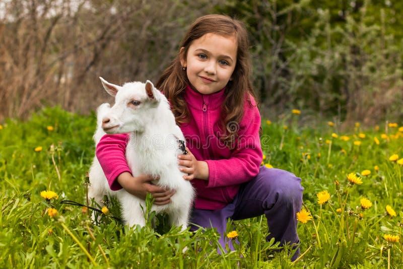 在草的小女孩拥抱小的山羊在庭院里 免版税库存照片