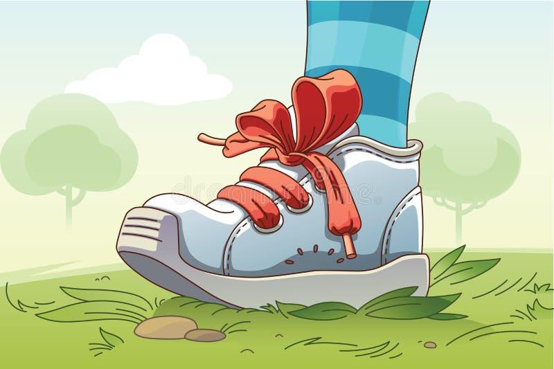 在草的小运动鞋 向量例证