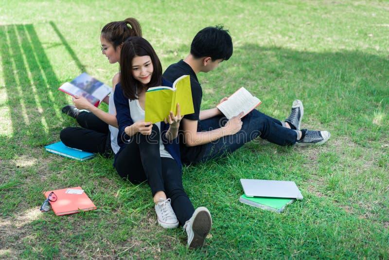 在草的年轻学生团体开会微笑与学校文件夹 免版税库存图片