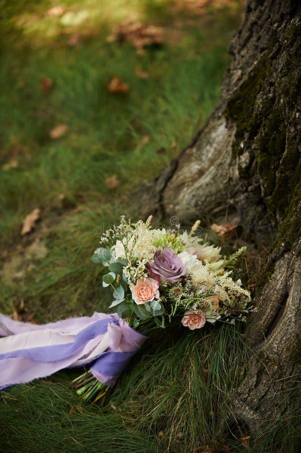 在草的新娘花束在树附近 库存图片