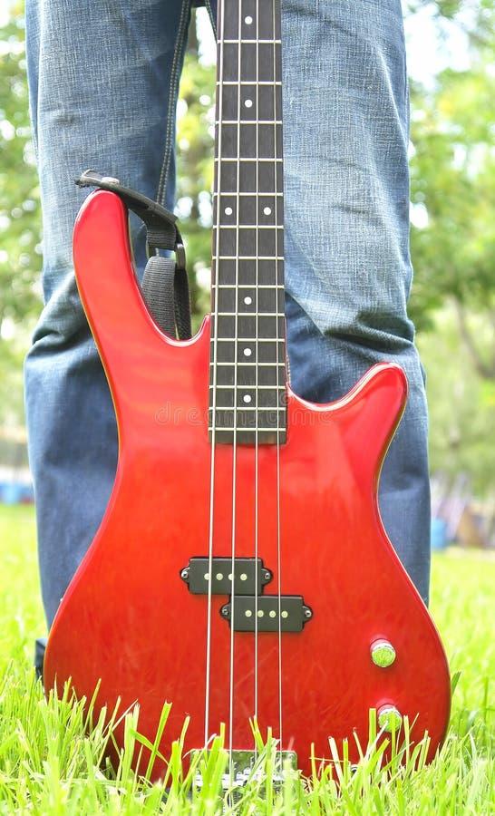 在草的红色低音吉它 库存图片