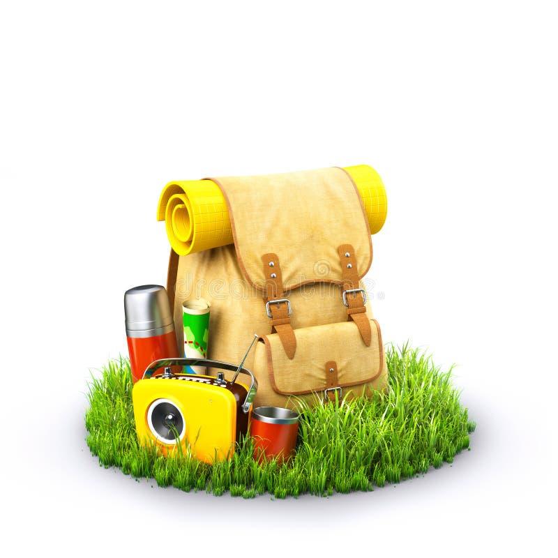在草的背包 向量例证