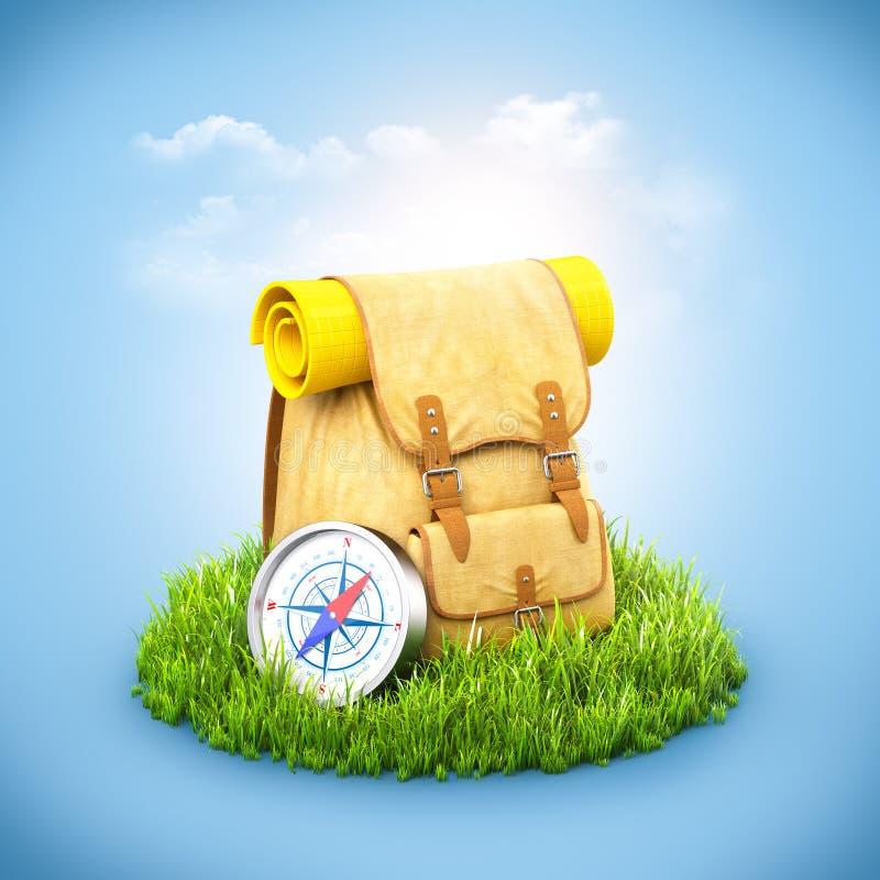 在草的背包 库存例证