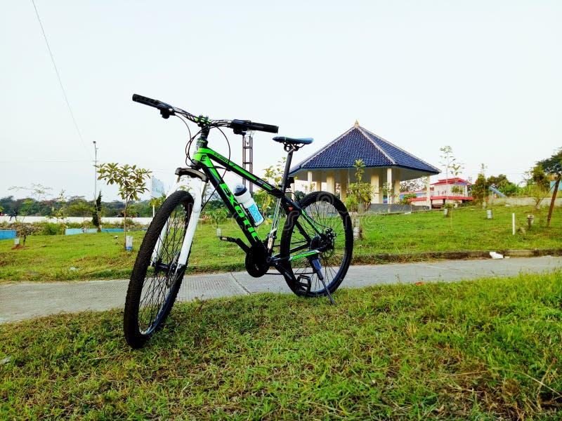 在草的自行车 免版税库存照片