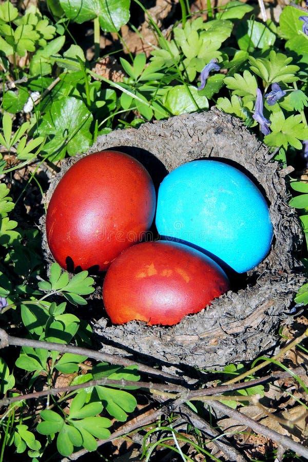 在草的被绘的鸡蛋 免版税库存照片