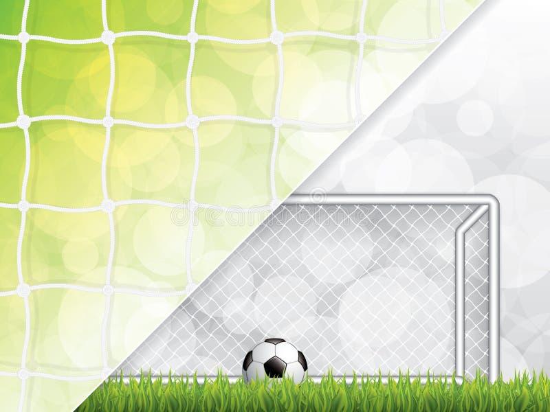 在草的足球在目标岗位前面 皇族释放例证
