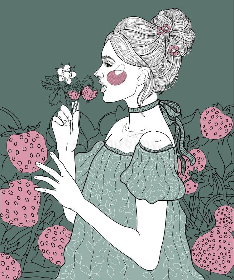 在草莓中的女孩 向量例证