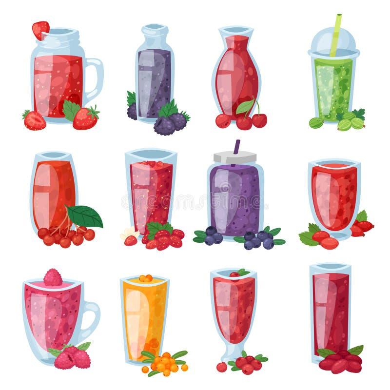 在草莓蓝莓和莓例证的玻璃或新饮料混合的圆滑的人传染媒介健康莓果饮料 库存例证