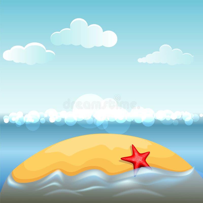 在荒岛上的海星 库存例证