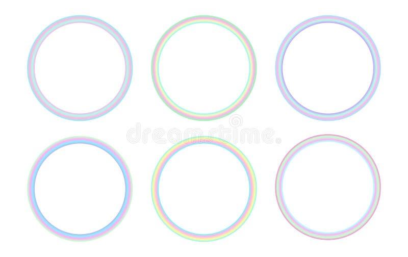 在荧光的vaporwave样式设置的圆全息照相的框架 向量例证