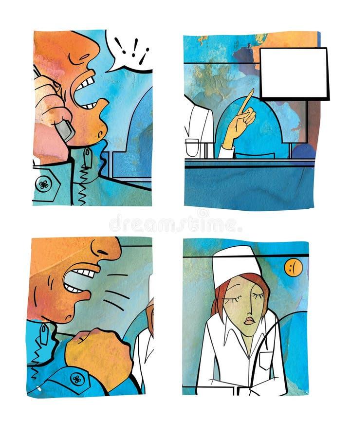 在药房的冲突情况 向量例证