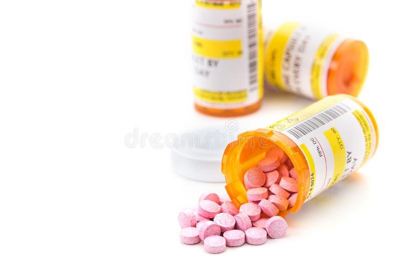 在药房药片小瓶的处方疗程 免版税图库摄影
