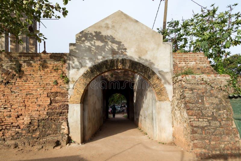 在荷兰堡垒的门在内贡博,斯里兰卡 免版税库存图片
