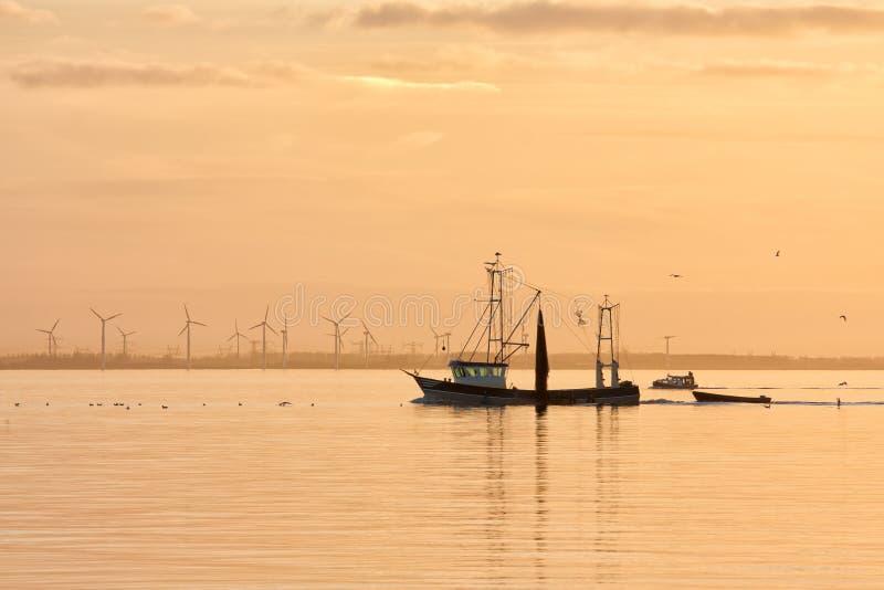 在荷兰海的日落有返回到港口的渔船的 免版税库存图片