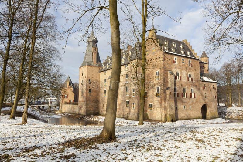 在荷兰防御doorwerth在冬天在晴天 库存图片