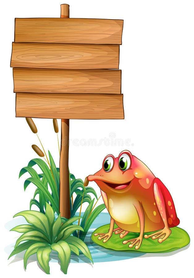 在荷花上的一只青蛙在木牌旁边 皇族释放例证