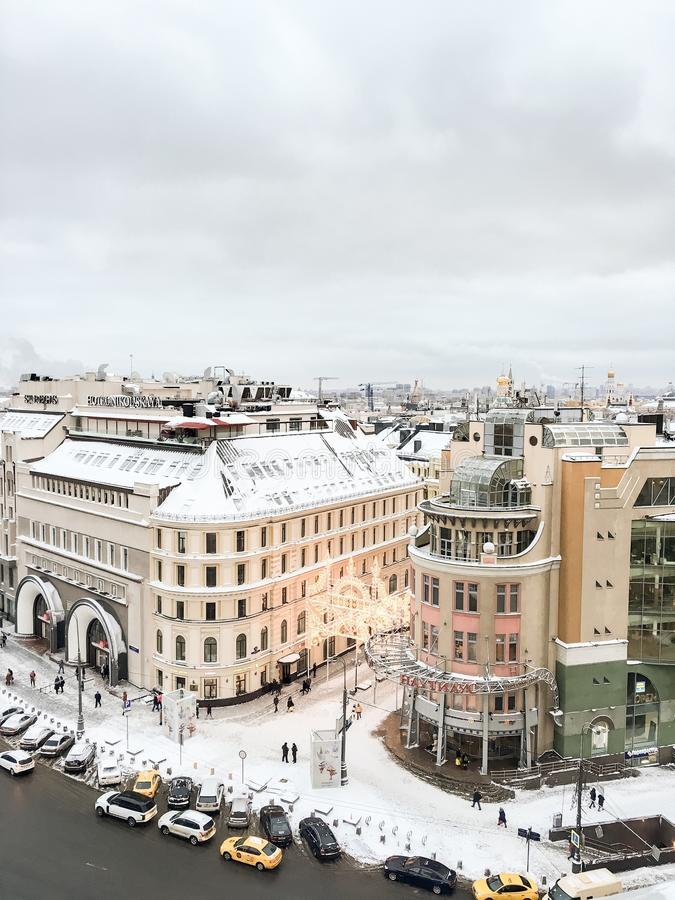 在莫斯科上的斯诺伊冬天 免版税库存图片