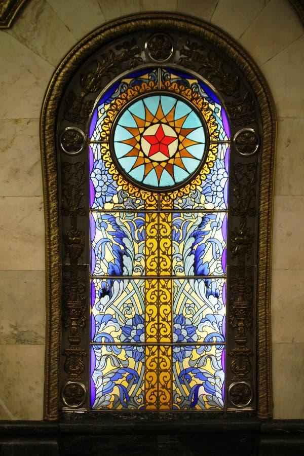 在莫斯科地铁车站Novoslobodskaya的彩色玻璃窗 免版税库存照片