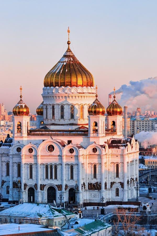在莫斯科市的鸟瞰图有基督教会的救主 免版税库存照片