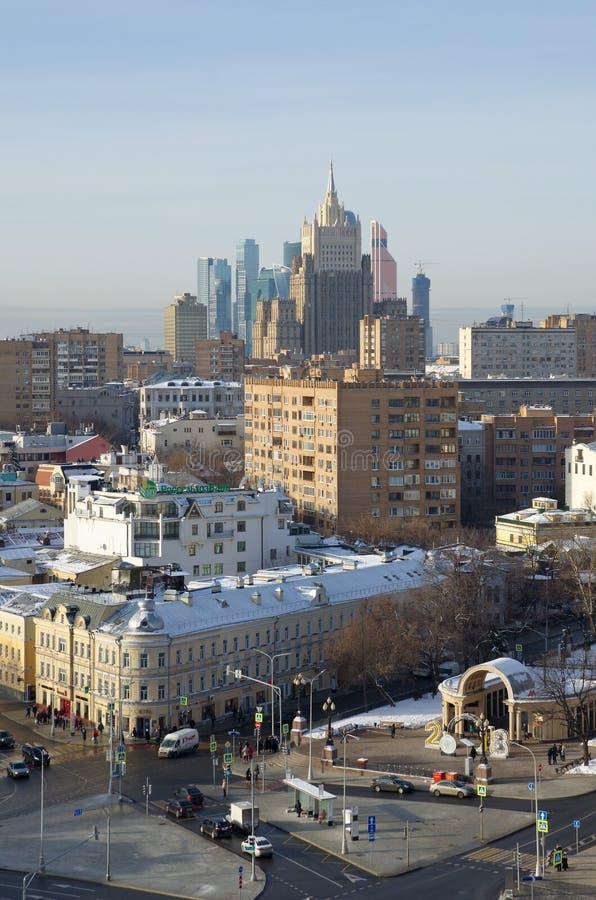 在莫斯科,俄罗斯大厦的看法从高度的 库存照片