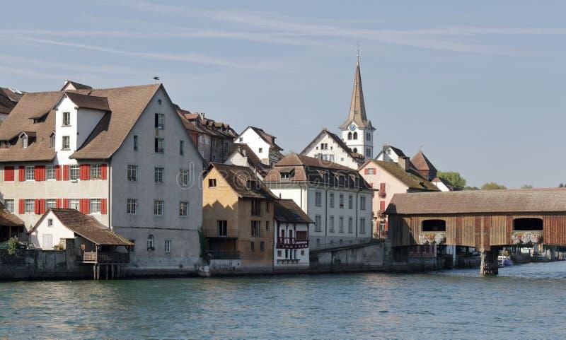 在莱茵河的桥梁在瑞士 免版税图库摄影