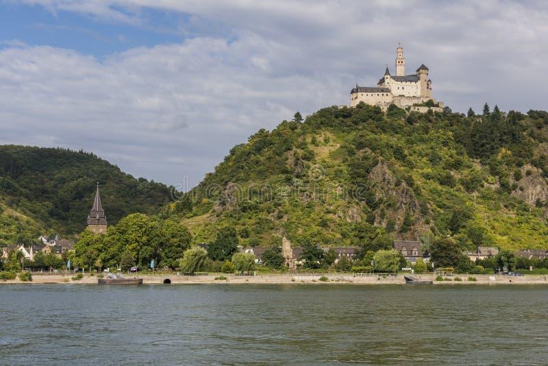 在莱茵河的Marksburg城堡在布劳巴赫 库存照片