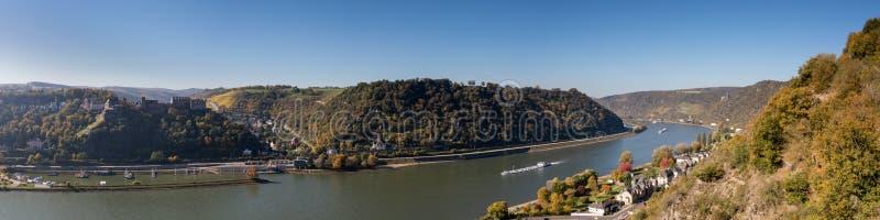 在莱茵河谷的全景观点Dreiburgenblick 免版税图库摄影