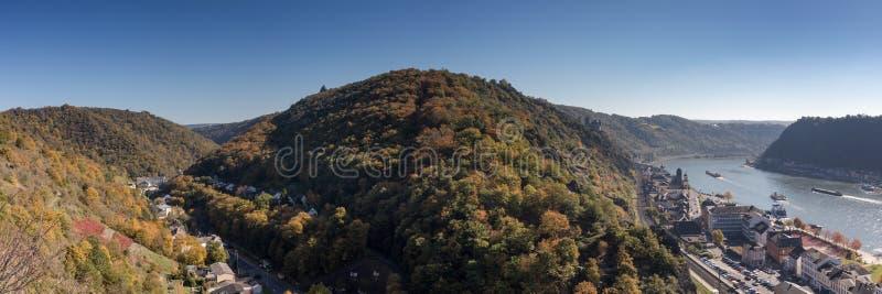 在莱茵河谷的全景观点Rabenack 免版税图库摄影